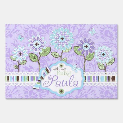 applique look flowers baby shower yard sign iris zazzle