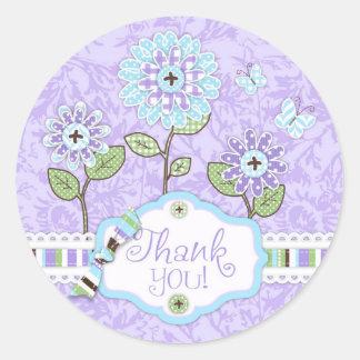 Applique-look Flowers Thank You Sticker Iris