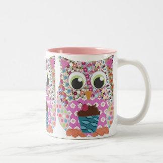 Appliqué Patch Pink Owl Two-Tone Coffee Mug