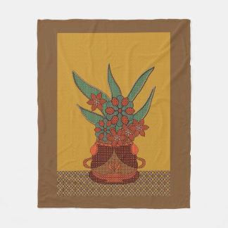 Appliqué Potted Flowers Fleece Blanket