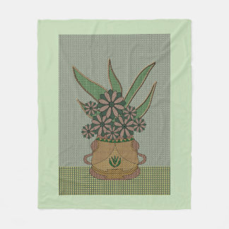 Appliqué Print Pot Of Flowers Fleece Blanket