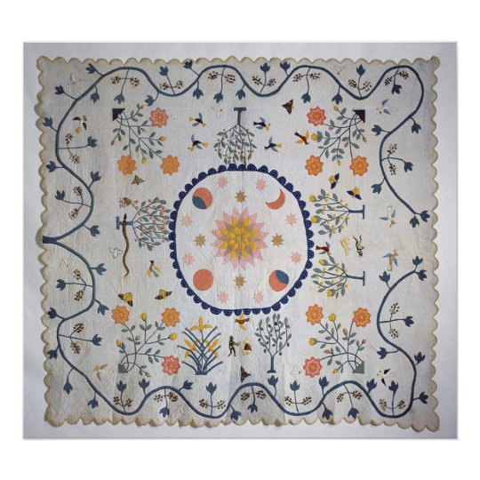 Applique quilt with Sun, Moon, Stars Poster