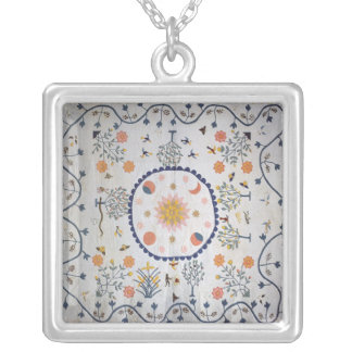 Applique quilt with Sun, Moon, Stars Silver Plated Necklace