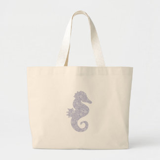 Applique Style Seahorse Large Tote Bag
