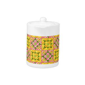 Applique Tulip Quilt YELLOW PINK TEAPOT