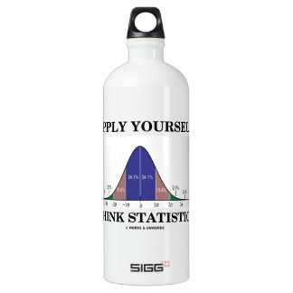 Apply Yourself Think Statistics (Bell Curve Humor) Aluminum Water Bottle