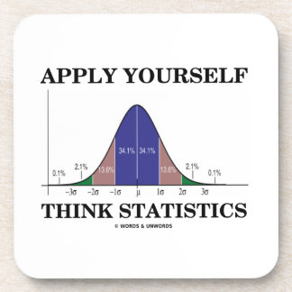 Apply Yourself Think Statistics (Bell Curve Humor) Beverage Coaster