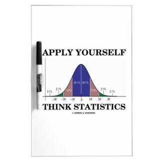 Apply Yourself Think Statistics (Bell Curve Humor) Dry Erase Board