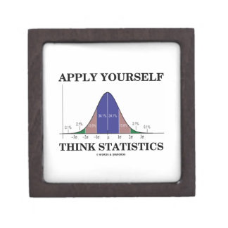 Apply Yourself Think Statistics (Bell Curve Humor) Jewelry Box
