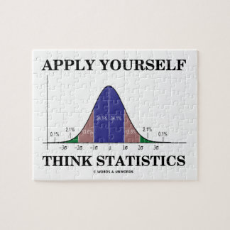 Apply Yourself Think Statistics (Bell Curve Humor) Jigsaw Puzzle