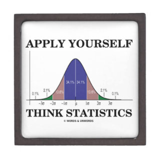 Apply Yourself Think Statistics (Bell Curve Humor) Keepsake Box