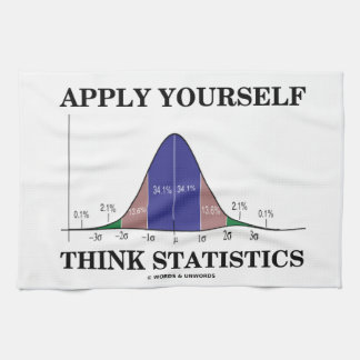 Apply Yourself Think Statistics (Bell Curve Humor) Kitchen Towel