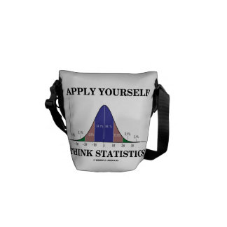 Apply Yourself Think Statistics (Bell Curve Humor) Messenger Bag