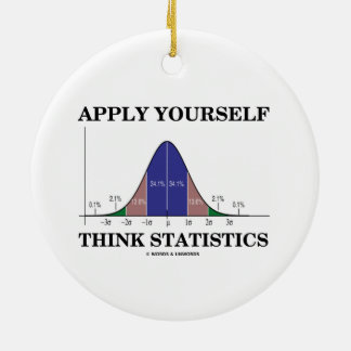 Apply Yourself Think Statistics (Bell Curve Humor) Christmas Ornaments