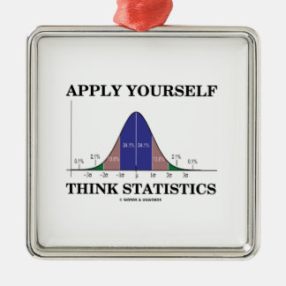 Apply Yourself Think Statistics (Bell Curve Humor) Christmas Tree Ornaments
