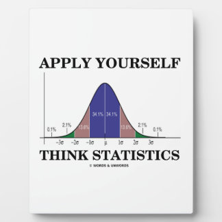 Apply Yourself Think Statistics (Bell Curve Humor) Plaque