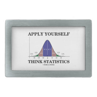 Apply Yourself Think Statistics (Bell Curve Humor) Rectangular Belt Buckle