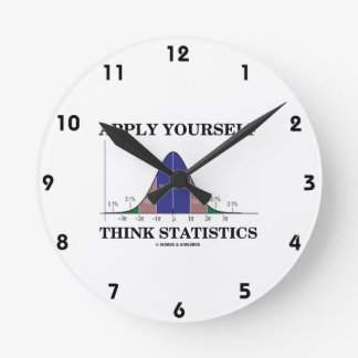Apply Yourself Think Statistics (Bell Curve Humor) Round Clock