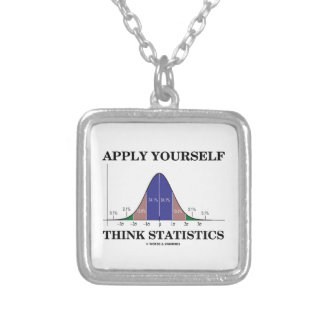 Apply Yourself Think Statistics (Bell Curve Humor) Silver Plated Necklace