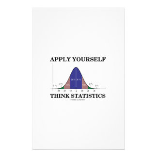 Apply Yourself Think Statistics (Bell Curve Humor) Stationery