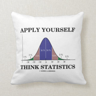Apply Yourself Think Statistics (Bell Curve Humor) Throw Pillow