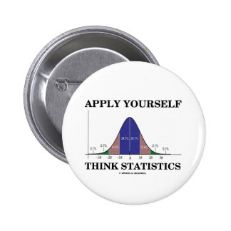 Apply Yourself Think Statistics (Bell Curve) Pinback Button