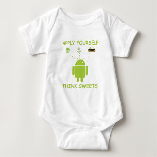 Apply Yourself Think Sweets (Bug Droid Humor) Baby Bodysuit