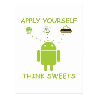 Apply Yourself Think Sweets (Bug Droid Humor) Postcard