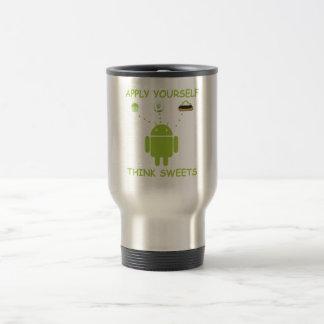 Apply Yourself Think Sweets (Bug Droid Humor) Travel Mug