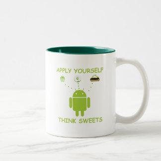 Apply Yourself Think Sweets (Bug Droid Humor) Two-Tone Coffee Mug