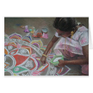 Applying the kolam powder card