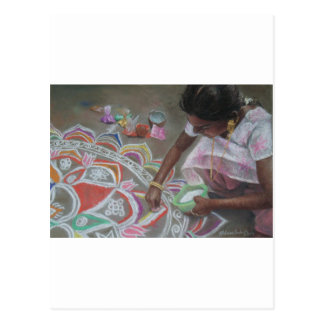 Applying the kolam powder postcard