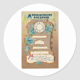 Appointment card classic round sticker