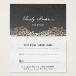 Appointment Card - Elegant Vintage Silver Damask