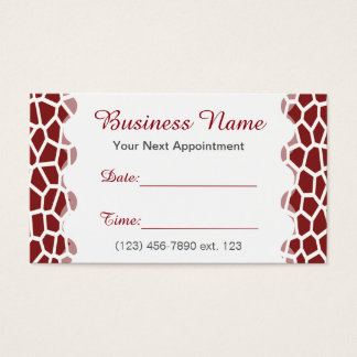 Appointment Card I/ U pick Color Giraffe Print