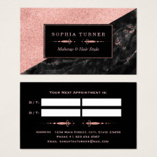 Appointment Card Rose Gold Marble Makeup Artist
