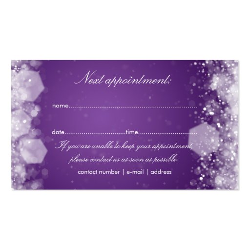 Appointment Card Sparkling Night Purple Business Card Templates