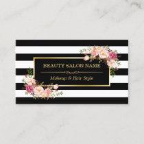 Appointment Card Vintage Beauty Salon Gold Floral