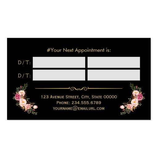 Appointment Card Vintage Beauty Salon Gold Floral Double-sided Standard Business Cards (pack Of 100)