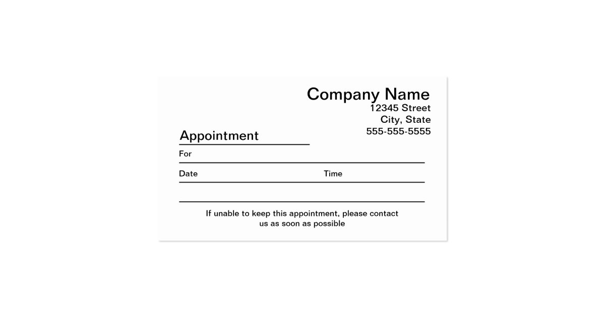 Business Card Appointment Reminders Template