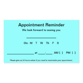 Appointment Reminder Cards (100 pack-Light Blue) Double-Sided Standard Business Cards (Pack Of 100)