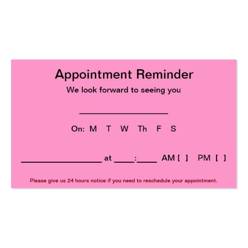 Appointment Reminder Cards (100 pack-Light Pink) Business Card