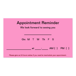 Appointment Reminder Cards (100 pack-Light Pink) Double-Sided Standard Business Cards (Pack Of 100)