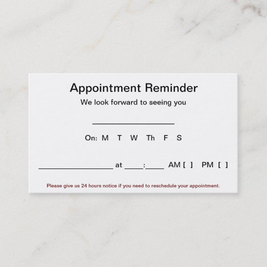 Appointment Reminder Cards 100 Pack White