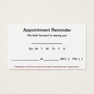 Appointment Reminder Cards (100 pack-White)
