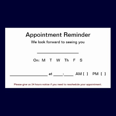 Appointment Reminder Cards (100 pack-White) business cards