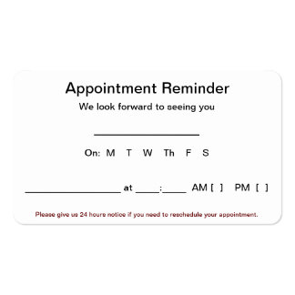 Appointment Reminder Cards (100 pack-White) Business Card Templates