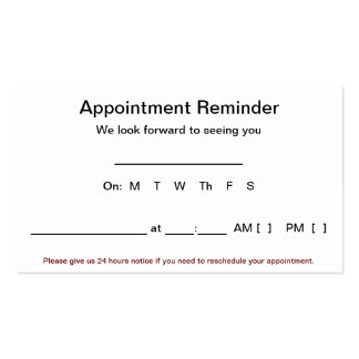 Appointment Reminder Cards (100 pack-White) Double-Sided Standard Business Cards (Pack Of 100)