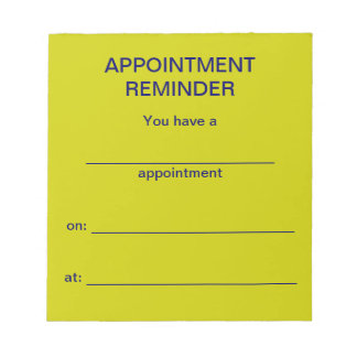 Appointment Reminder Notepad -Bright Yellow