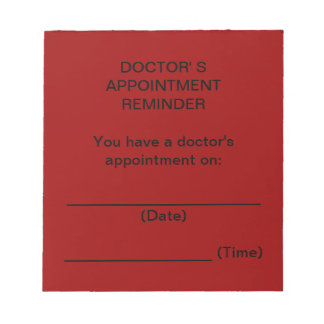 Appointment Reminder Notepad del doctor rojo Bloc